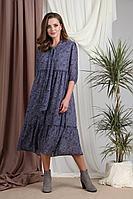 Женское осеннее шифоновое синее большого размера платье Rishelie 858.2 52р.