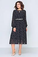 Женская осенняя шифоновая черная платье и ремень Swallow 396 черный 48р.