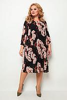 Женское осеннее трикотажное черное нарядное большого размера платье Michel chic 2049 черный+цветы 52р.