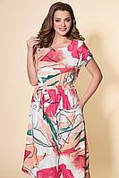 Женское летнее льняное платье DaLi 2444 коралл 48р.