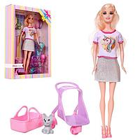 Кукла-модель «Анастасия» с питомцем, коляской и аксессуарами, МИКС
