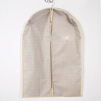 Чехол для одежды Доляна 'Европа', с ПВХ окном, 90x60 см, цвет бело-коричневый