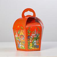 """Коробка для кулича """"Палех красный"""" диаметр 11 см"""
