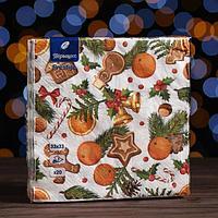Новогодние салфетки бумажные Перышко Prestige 33х33 'Аромат рождества' 3сл 20л.