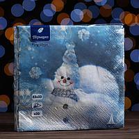 Новогодние салфетки бумажные Перышко Prestige 33х33 'Сноумен' 3сл 20л.