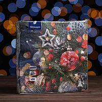 Новогодние салфетки бумажные Перышко Prestige 33х33 'Праздничная ночь' 3сл 20л.