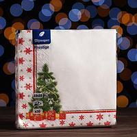 Новогодние салфетки бумажные Перышко Prestige 33х33 'Ожидание праздника' 3сл 20л.