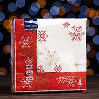 Новогодние салфетки бумажные Перышко Prestige 33х33 'Торжественная' 3сл 20л.
