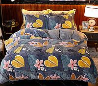"""Плюшевое постельное белье """"Листья и цветы"""", 2-спальное"""