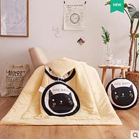 """Подушка-одеяло """"Чёрный котик"""", 40*40 см"""