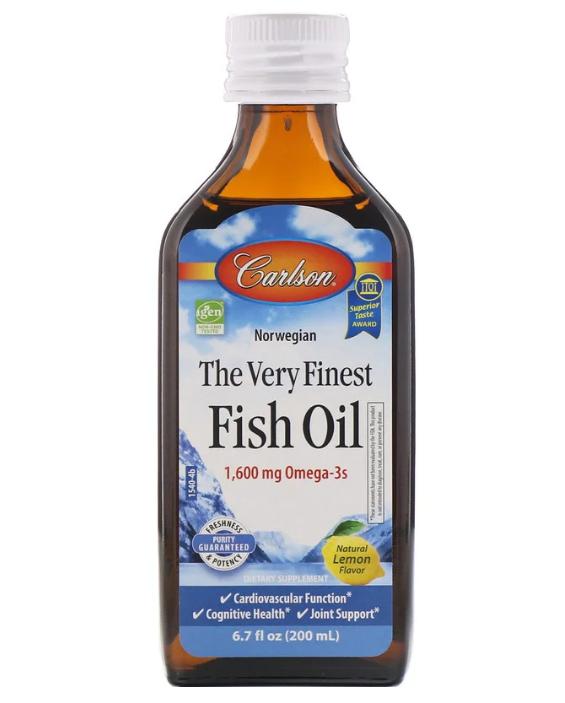 Carlson Labs, норвежская серия, самый лучший рыбий жир, с натуральным лимонным вкусом, 1600 мг, 200 мл (6,7 жи