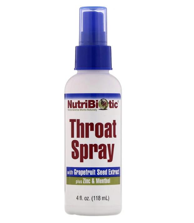 NutriBiotic, спрей для горла с экстрактом косточек грейпфрута, цинком и ментолом, 118 мл (4 жидк. унции)
