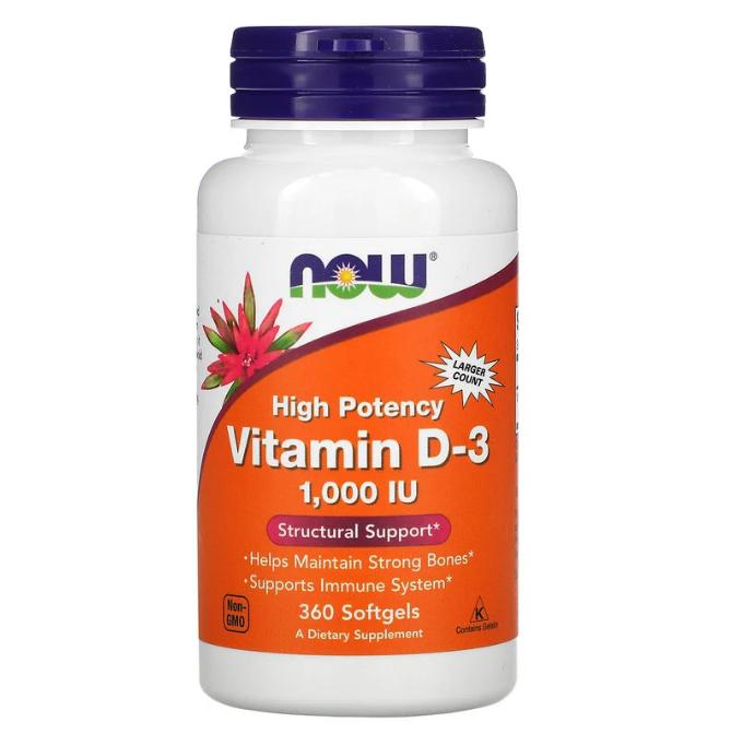Now Foods, высокоактивный витамин D3, 25 мкг (1000 МЕ), 360 мягких таблеток