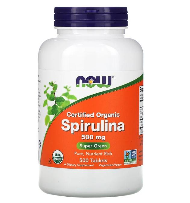 Now Foods, сертифицированная органическая спирулина, 500 мг, 500 таблеток