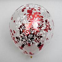 """Воздушные шары с конфетти 12"""" """"Светлое чувство"""", набор 5 шт, сердечки"""