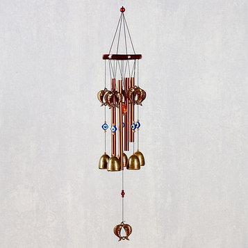 "Музыка ветра металл, дерево ""Карпы"" 4 трубки 5 колокольчиков 62х9,5 см"