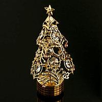 """Музыкальный сувенир с кристаллами Swarovski """"Новогодняя ёлочка"""" 17х8 см"""