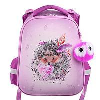 Рюкзак каркасный Hatber Ergonomic 37 х 29 х 17 см, для девочки, «Мягкие колючки», розовый