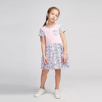 Платье для девочки, цвет розовый/цветы, рост 122 см