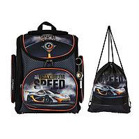 Ранец Стандарт раскладной Hatber CompactPlus 37 х 30 х 17 + мешок, для мальчика Super car, чёрный