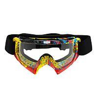Очки-маска для езды на мототехнике, прозрачное, цвет желтый-красный, ОМ-27