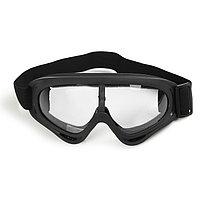 Очки для езды на мототехнике, стекло прозрачное, цвет черный