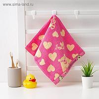 """Полотенце махровое Крошка Я """"Мишка""""Вид 1, 25*50 см, цв.розовый, 100% хлопок, 400 гр/м2"""