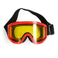 Очки-маска для езды на мототехнике, стекло двухслойное желтое, цвет красный