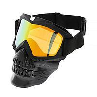 Очки-маска для езды на мототехнике, разборные, визор оранжевый, цвет черный