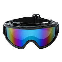 Очки-маска для езды на мототехнике, стекло хамелеон, черные