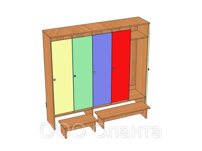 Шкаф пятиместный для раздевалки детского сада (1596х330х1400) арт. ШДО5