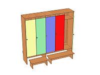 Шкаф пятиместный для раздевалки детского сада (1596х330х1400) арт. ШДО5, фото 1