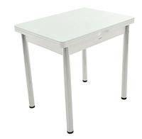 Раздвижной стол Бари стекло (Цвет стекла: Белый / Цвет ЛДСП: Белый + ноги №6)