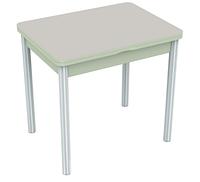 Раздвижной стол Бари стекло (Цвет стекла: Белый / Цвет ЛДСП: Дуб выбеленный + ноги №6)