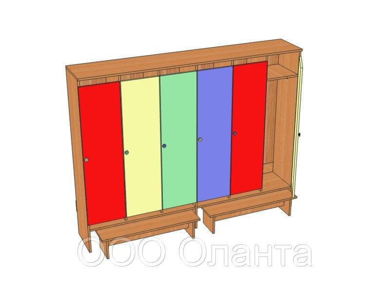 Шкаф шестиместный для раздевалки детского сада (1912х330х1400) арт. ШДО6