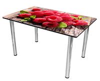 Раздвижной стол Бари стекло (Цвет стекла: Фрукты №1 / Цвет ЛДСП: Дуб Венге + ноги №6)