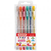 Набор ручкек гелевых с блестками 6 штук Пифагор