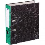 Папка-регистратор OfficeSpace 70мм, мрамор, черная, зеленый корешок, нижний метал. кант 274412