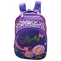 Рюкзак школьный 3 отдела феолетовый цветы Spring