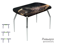Раздвижной стол Ривьера стекло исп.2,Черный ,фотопечать: Кофе №9 +ноги №5