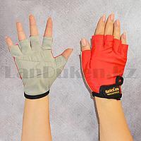 Перчатки для фитнеса и тренажеров, турника Harvest Gym (без пальцев) размер М черно-красные