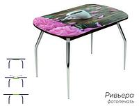 Раздвижной стол Ривьера стекло исп.1, Черный, фотопечать: Кофе №26 +ноги №5