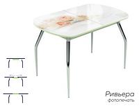 Раздвижной стол Ривьера стекло исп.1,Белый, фотопечать: Цветы №32 +ноги 5
