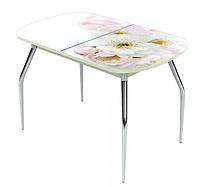 Раздвижной стол Ривьера стекло исп.1,Белый, фотопечать: Цветы №6 +ноги 5