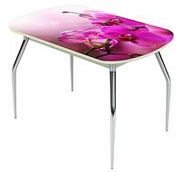 Раздвижной стол Ривьера стекло исп.1,Белый, фотопечать: Цветы №16 +ноги 5