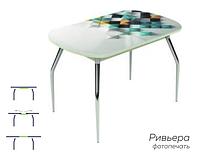 Раздвижной стол Ривьера стекло исп.2,Белый, фотопечать: Текстура №44 +ноги №5