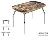 Раздвижной стол Ривьера стекло исп.2,Дуб Венге, фотопечать: Дерево №7 +ноги 5