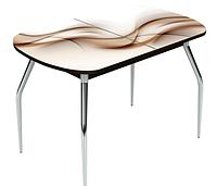 Раздвижной стол Ривьера стекло исп.2 ,Дуб выбеленный, фотопечать: Текстура №25 +ноги №5