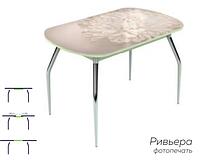 Раздвижной стол Ривьера стекло исп.1,Белый, фотопечать: Цветы №27 +ноги 5