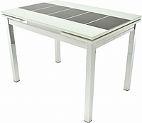 Раздвижной стол Шанхай Каре ( Рисунок: Черный, Каркас: Белый Муар)